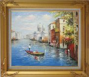 Enjoying Venice on Gondola  Oil Painting  Gold Wood Frame with Deco Corners 27