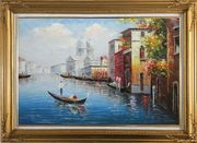 Enjoying Venice on Gondola  Oil Painting  Gold Wood Frame with Deco Corners 31