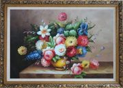 Still Life Of Roses And Other Flowers Oil Painting Bouquet Classic Ornate Antique Dark Gold Wood Frame 30 x 42 inches