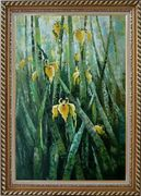 Yellow Iridaceae Flower Oil Painting Impressionism Exquisite Gold Wood Frame 42 x 30 inches
