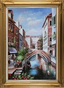 Memories of Venice in Italy Oil Painting Naturalism Gold Wood Frame with Deco Corners 43 x 31 inches