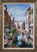 Memories of Venice in Italy Oil Painting  Ornate Antique Dark Gold Wood Frame 42