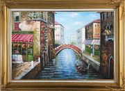Sunny Day In Venice Oil Painting Italy Naturalism Gold Wood Frame with Deco Corners 31 x 43 inches