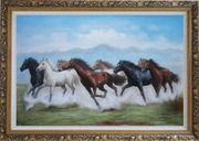 8 Running Horses on the Prairie Oil Painting Animal Naturalism Ornate Antique Dark Gold Wood Frame 30 x 42 inches