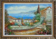 Colorful Walkway at Mediterranean Villa Oil Painting Impressionism Ornate Antique Dark Gold Wood Frame 30 x 42 inches