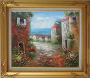 Flower Path to Seaside Oil Painting Mediterranean Impressionism Gold Wood Frame with Deco Corners 27 x 31 inches