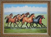 Eight Joyful Running Horses in the Wild Green Meadow Oil Painting Animal Naturalism Exquisite Gold Wood Frame 30 x 42 inches