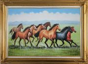 Eight Joyful Running Horses in the Wild Green Meadow Oil Painting Animal Naturalism Gold Wood Frame with Deco Corners 31 x 43 inches