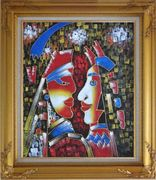 Lovers, Picasso Reproduction Oil Painting Portraits Couple Modern Cubism Gold Wood Frame with Deco Corners 31 x 27 inches