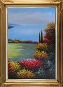 Flourishing Flower Garden Overlook Mediterranean Sea Oil Painting Naturalism Gold Wood Frame with Deco Corners 43 x 31 inches