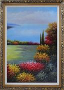 Flourishing Flower Garden Overlook Mediterranean Sea Oil Painting Naturalism Ornate Antique Dark Gold Wood Frame 42 x 30 inches