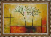Modern Green Tree Painting Oil Landscape Decorative Exquisite Gold Wood Frame 30 x 42 inches