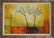 Modern Green Tree Painting Oil Landscape Decorative Ornate Antique Dark Gold Wood Frame 30 x 42 inches