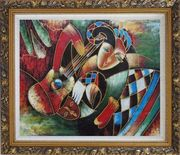 Two Musicians, Picasso Reproduction Oil Painting Portraits Modern Cubism Ornate Antique Dark Gold Wood Frame 26 x 30 inches