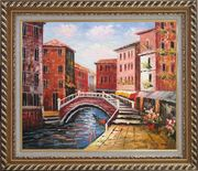 Venice Canal Bridge With Pretty Flowers Oil Painting Italy Naturalism Exquisite Gold Wood Frame 26 x 30 inches