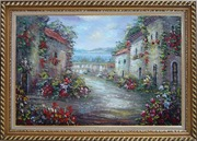 Mediterranean Village Street with Colorful Flowers Oil Painting Impressionism Exquisite Gold Wood Frame 30 x 42 inches