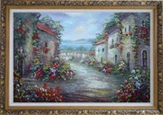 Mediterranean Village Street with Colorful Flowers Oil Painting Impressionism Ornate Antique Dark Gold Wood Frame 30 x 42 inches