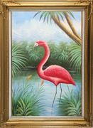 Red Flamingo On Pond Oil Painting Animal Bird Naturalism Gold Wood Frame with Deco Corners 43 x 31 inches