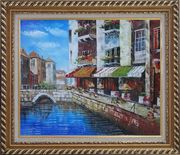 Venice Cafe Along Water Street Oil Painting Italy Naturalism Exquisite Gold Wood Frame 26 x 30 inches