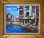 Venice Cafe Along Water Street Oil Painting Italy Naturalism Gold Wood Frame with Deco Corners 27 x 31 inches