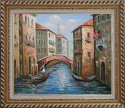 Gondolas in Street of Venice, Italy Oil Painting Naturalism Exquisite Gold Wood Frame 26 x 30 inches