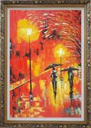 People in Street On Rainy Night with Bright Red Light Oil Painting  Ornate Antique Dark Gold Wood Frame 42