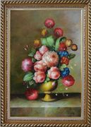 Still Life: Blooming Colorful Flowers in a Vase Oil Painting Bouquet Classic Exquisite Gold Wood Frame 42 x 30 inches