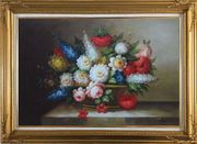 Peony, Tulips, Roses, Delphiniums And Other Colorful Flowers Oil Painting Still Life Bouquet Classic Gold Wood Frame with Deco Corners 31 x 43 inches
