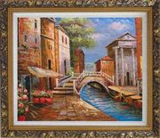 Bridge Across Venice Street Oil Painting Italy Naturalism Ornate Antique Dark Gold Wood Frame 26 x 30 inches