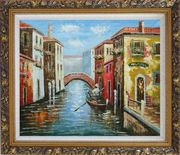 The Afternoon of Venice Oil Painting Italy Naturalism Ornate Antique Dark Gold Wood Frame 26 x 30 inches