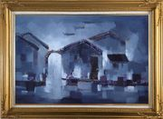 Water Town in Dark Oil Painting Village China Asian Gold Wood Frame with Deco Corners 31 x 43 inches