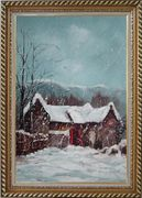 Cottage in Winter White Falling Snow Oil Painting Village Classic Exquisite Gold Wood Frame 42 x 30 inches