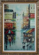 Street of Shanghai in early Twenty Century Oil Painting Cityscape China Impressionism Ornate Antique Dark Gold Wood Frame 42 x 30 inches