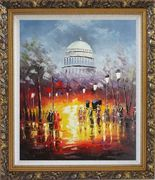 Washington DC at Dusk in Winter Oil Painting Cityscape America Impressionism Ornate Antique Dark Gold Wood Frame 30 x 26 inches