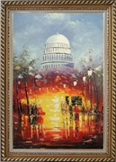 Washington DC at Dusk in Winter Oil Painting Cityscape America Impressionism Exquisite Gold Wood Frame 42 x 30 inches