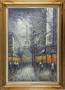 People Stroll On Street Near Tour Eiffel In Black and White with Yellow Light Oil Painting Cityscape France Impressionism Gold Wood Frame with Deco Corners 43 x 31 inches
