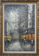 People Stroll On Street Near Tour Eiffel In Black and White with Yellow Light Oil Painting Cityscape France Impressionism Ornate Antique Dark Gold Wood Frame 42 x 30 inches