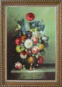 Still Life With Colorful Flowers In Vase Oil Painting Bouquet Classic Exquisite Gold Wood Frame 42 x 30 inches