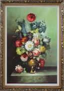 Still Life With Colorful Flowers In Vase Oil Painting Bouquet Classic Ornate Antique Dark Gold Wood Frame 42 x 30 inches