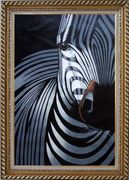 Black and White Zebra I Oil Painting Animal Decorative Exquisite Gold Wood Frame 42 x 30 inches