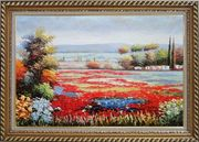 Red And Purple Flower Field in Tuscany of Italy Oil Painting Landscape Naturalism Exquisite Gold Wood Frame 30 x 42 inches