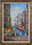 Pleasant Venice Garden And Canal At Noon Oil Painting Italy Impressionism Ornate Antique Dark Gold Wood Frame 42 x 30 inches