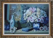 Still Life Ceramic Jug, Ashtray with Flowers in Vase Oil Painting Bouquet Impressionism Ornate Antique Dark Gold Wood Frame 30 x 42 inches