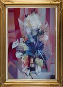 Elegant Bouquet in Pink Background Oil Painting Still Life Flower Impressionism Gold Wood Frame with Deco Corners 43 x 31 inches