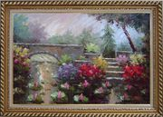 Lotus Pond, Bridge,Steps in a Garden Oil Painting Naturalism Exquisite Gold Wood Frame 30 x 42 inches
