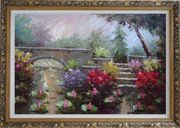 Lotus Pond, Bridge,Steps in a Garden Oil Painting Naturalism Ornate Antique Dark Gold Wood Frame 30 x 42 inches