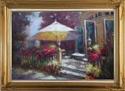 Garden Retreat Oil Painting Naturalism Gold Wood Frame with Deco Corners 31 x 43 inches