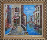 Cafeteria Along Two Water Streets with Bridges in Venice Oil Painting Italy Naturalism Exquisite Gold Wood Frame 26 x 30 inches