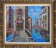 Cafeteria Along Two Water Streets with Bridges in Venice Oil Painting Italy Naturalism Ornate Antique Dark Gold Wood Frame 26 x 30 inches