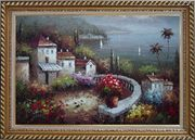 Mediterranean Garden Before Storm Oil Painting Naturalism Exquisite Gold Wood Frame 30 x 42 inches